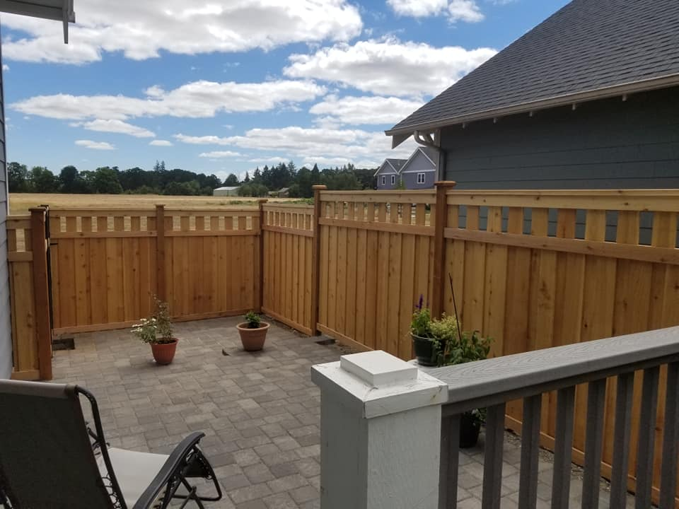 A Newberg wood fence installation by F&W fence company